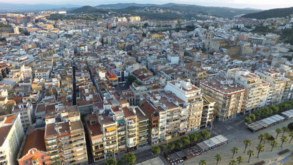 Aerial view of Mediterranean town, Blanes, Costa Brava, Spain