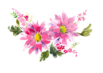 Bouquet of pink flowers. Decorative bouquet. Watercolor background.