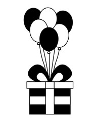 gift box present with balloons helium isolated icon