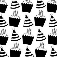 party hat decorative with cupcake and candles pattern
