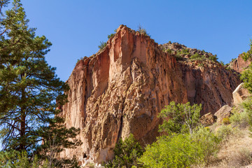 Bandelier National Monument Cliff with Blue Sky