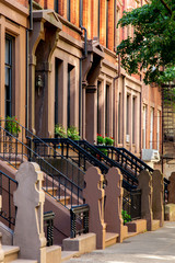 New York, City / USA - JUL 10 2018: Old Buildings of Hicks Street in Brooklyn Heights Neighborhood New York City