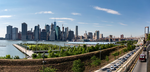 New York, City / USA - JUL 10 2018: Fort Stirling Park in clear afternoon of Lower Manhattan Skyline view from Brooklyn New York City