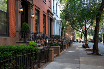 New York, City / USA - JUL 10 2018: Old Buildings of  Brooklyn Heights Neighborhood in New York City