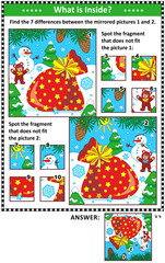 New Year or Christmas visual puzzles with  Santa's sack, snowman and teddy bear. Find the differences between the mirrored pictures. Spot the wrong fragments. Answers included.
