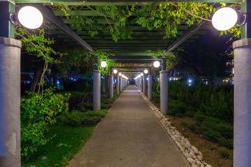 Beautiful pathway with lanterns at the beach of Turkey