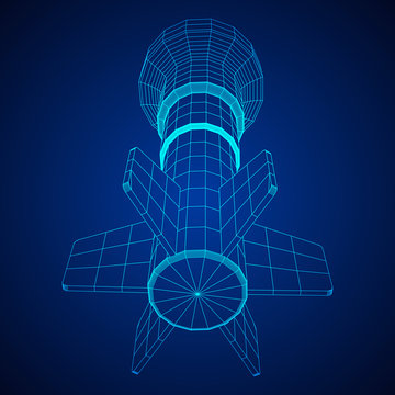 Missile, nuclear bomb or mortar mine Wireframe low poly mesh vector illustration