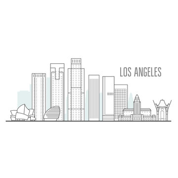 Los Angeles city skyline - downtown cityscape, towers and landmarks in liner style