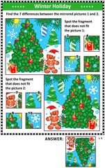 New Year or Christmas visual puzzles with christmas tree and ginger man. Find the differences between the mirrored pictures. Spot the wrong fragments. Answers included.