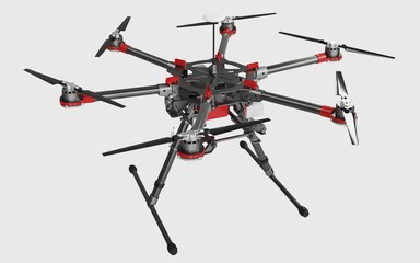 Professional drone isolated on white background. 3D rendering.