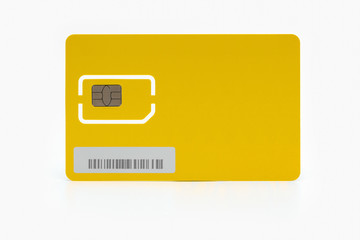 Modern yellow sim card isolated on white background