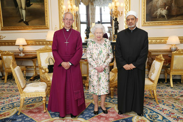 Britain's Queen Elizabeth stands between Justin Welby, the Archbishop of Canterbury, and Sheikh Ahmad Al-Tayeb, Grand Imam of Al Azhar, during an audience for the Grand Imam at Windsor Castle