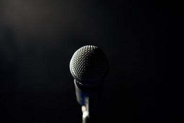 Singing microphone ready for singer