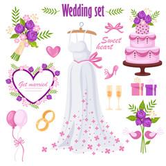 beautiful wedding set. bride's dress. isolated elements. vector cartoon illustration