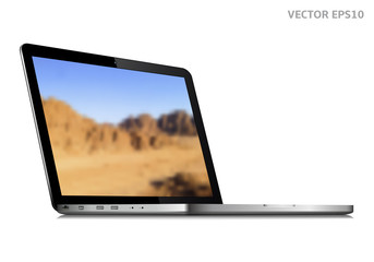 Laptop vector with wallpaper on screen