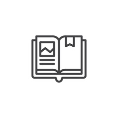 Open book with bookmark outline icon. linear style sign for mobile concept and web design. Reading simple line vector icon. Symbol, logo illustration. Pixel perfect vector graphics