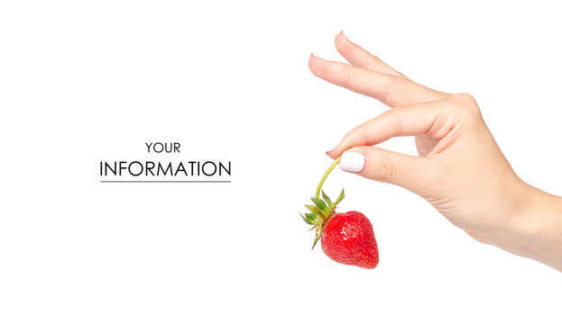 Strawberries in a hand pattern on a white background isolation
