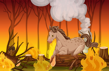 A Horse Running in the Wildfire Forest