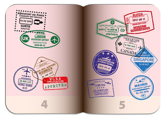 open passport with different grungy visa stamps