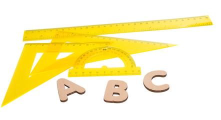yellow ruler isolated