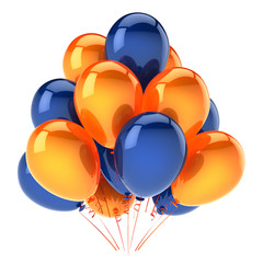 party balloons orange blue colorful. helium balloon bunch birthday decoration glossy, carnival celebration background. 3d illustration