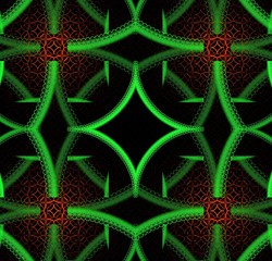 Bright fractal abstraction. Geometric ornament, green and red, ethnic style