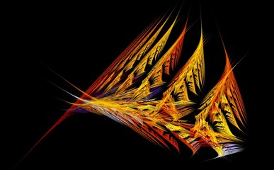 Bright fractal abstraction. Abstract figure. Triangles sail movement