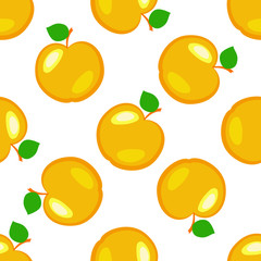 Apples. Fruits. Seamless pattern. Yellow elements, white background