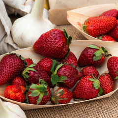 Bright red strawberry berries