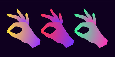 Silhouette of Hand with Okay gesture and Gradient