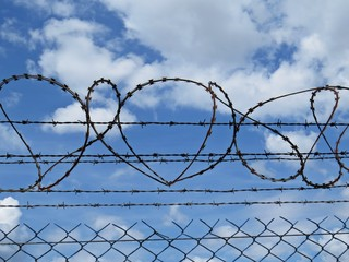 High Metallic Protection Perimeter Fence Railing with Barbed Wire on Top