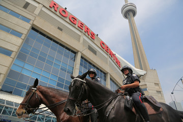 Members of a police tactical unit are deployed at the Rogers Centre in Toronto