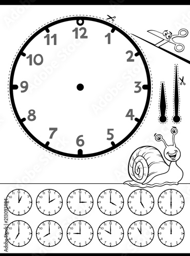 Clock Face Educational Worksheet For Kids Stock Image And Royalty