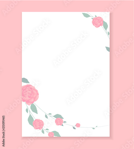 Love Letter Blank Template With Rose Flower Pattern