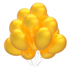 party balloons yellow colorful shiny. birthday helium balloon bunch decoration. holiday event, anniversary celebration symbol. 3d illustration