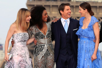 "Cast members Tom Cruise, Alix Benezech, Angela Bassett and Michelle Monaghan pose during the world premiere of the film ""Mission: Impossible - Fallout"" in Paris"