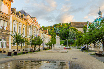 Elisabeth Square in the historic city centre of Miskolc with a statue of Lajos Kossuth