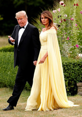 U.S. President Donald Trump and the First Lady Melania Trump leave the U.S. ambassador's residence, Winfield House, where they are staying, on their way to Blenheim Palace for dinner with Britain's Prime Minister Theresa May and business leaders, in London