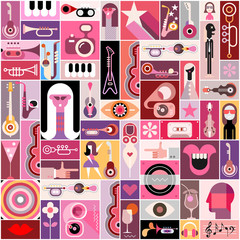 Canvas Prints Abstract Art Pop Art Musical Collage