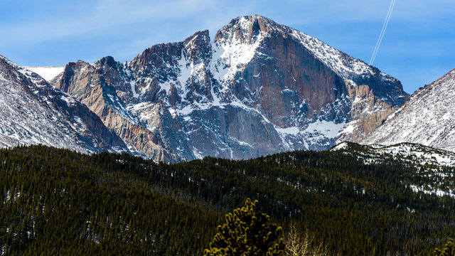Longs Peak - A close-up Spring view of steep and rugged east face of Longs Peak (14,255 ft), Rocky Mountain National Park, Colorado, USA.