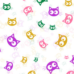 Animal silhouette. Wallpaper and fabric design and decor. Vector illustration. Pattern of olorful Heads of Cats on White Background.