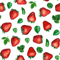 Seamless vector pattern with strawberries