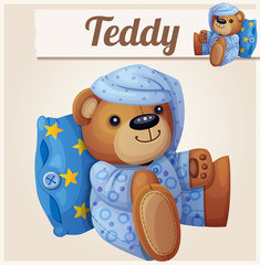 Teddy bear in pajamas with pillow