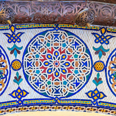 Mosaic around the gate to the royal palace in Fez Morocco
