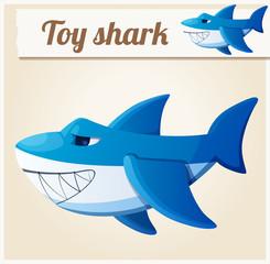 Toy shark. Cartoon vector illustration
