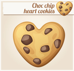 Choc chip heart cookies illustration. Cartoon vector icon
