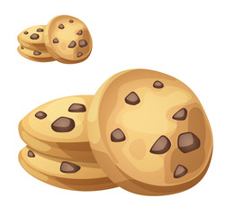 Choc chip cookies illustration. Cartoon vector icon isolated on white background