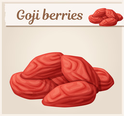 Dried Goji berries icon. Cartoon vector illustration. Series of food and drink and ingredients for cooking