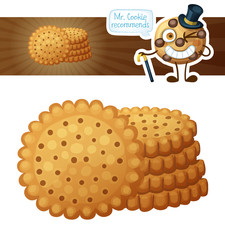 Round crackers cookies. Cartoon vector illustration isolated on white background