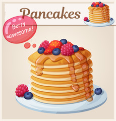 Pancakes with berries and honey icon. Cartoon vector illustration. Series of food and drink and ingredients for cooking